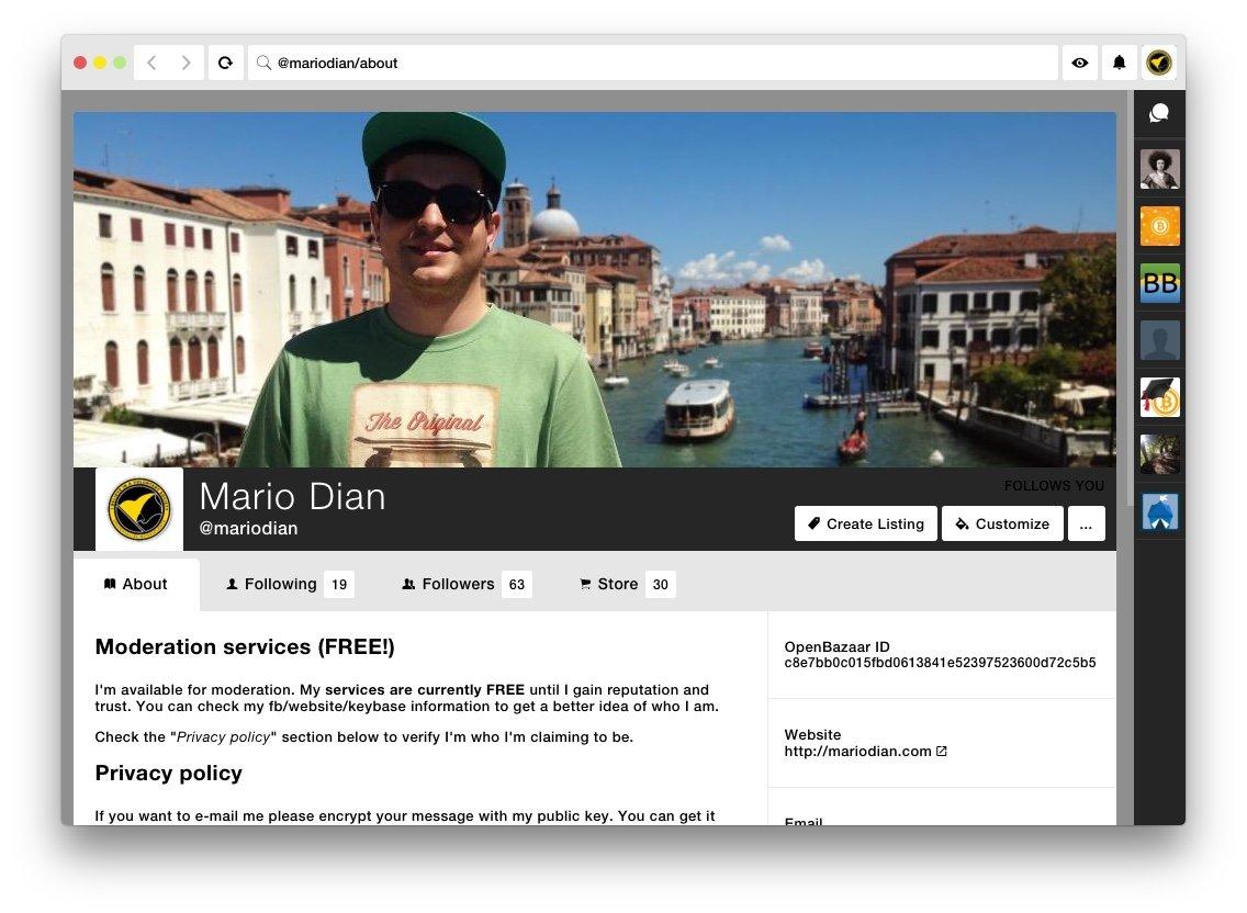 @mariodian store on OpenBazaar