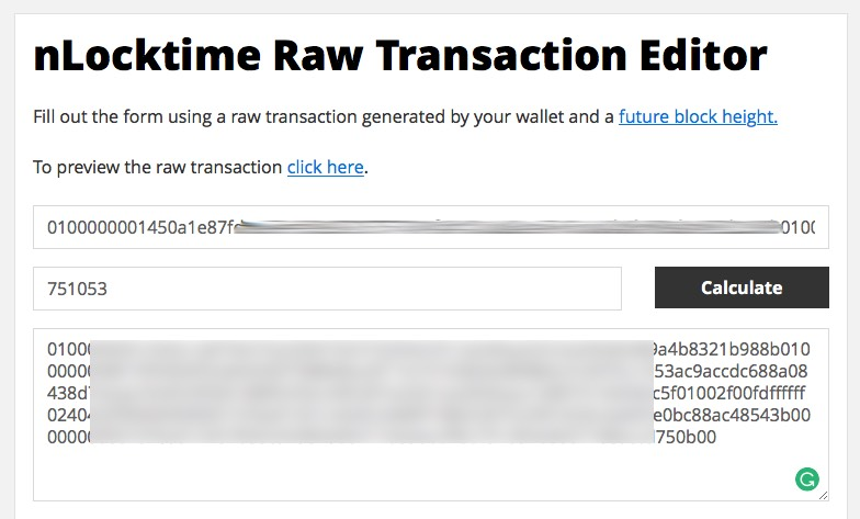 Adding future block height to the raw transaction