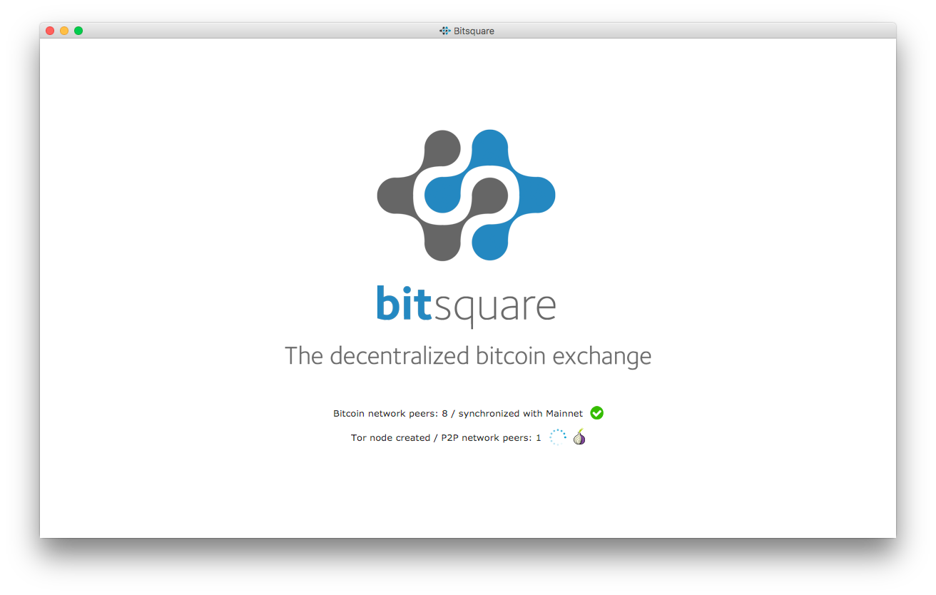 Bitsquare connecting to the network