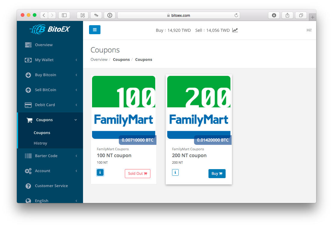 List of available coupons