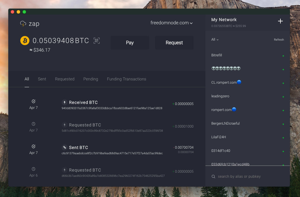 Dashboard of Zap Wallet