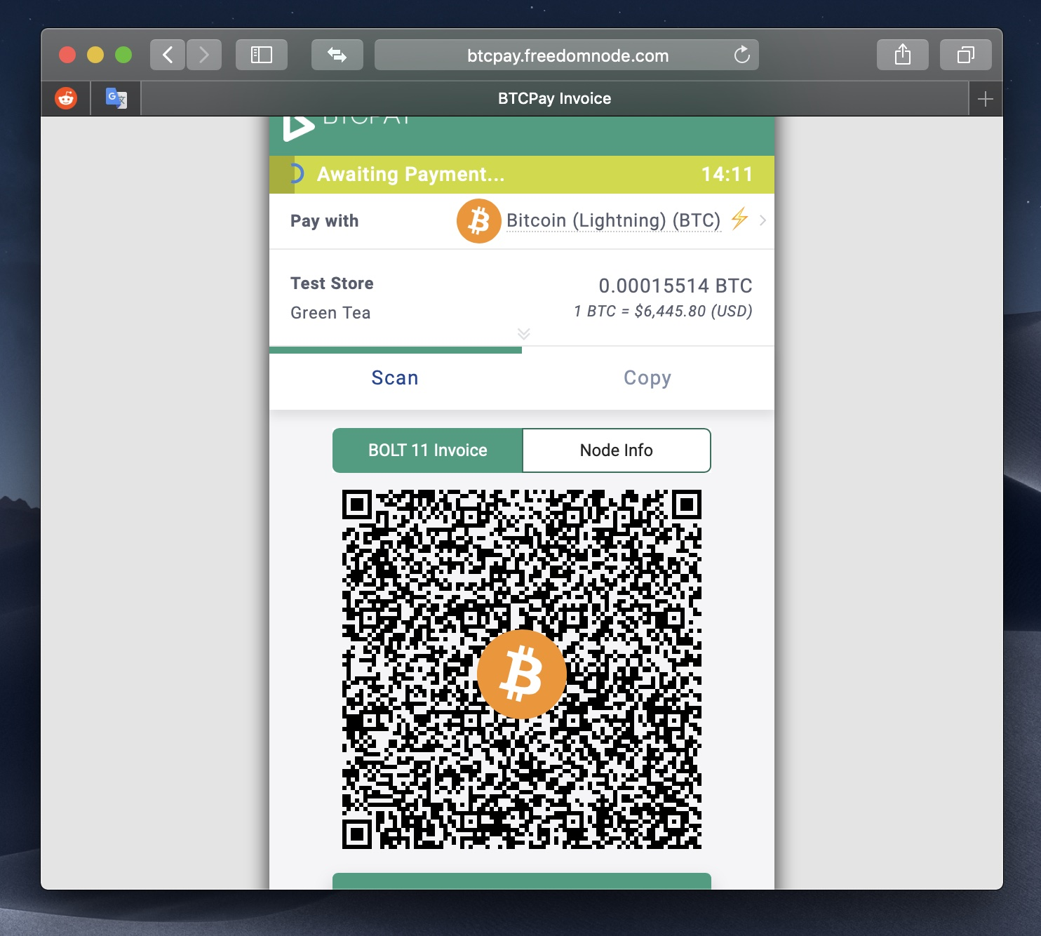 BTCPay's payment gateway supporting BTC both on-chain and via Lightning Network